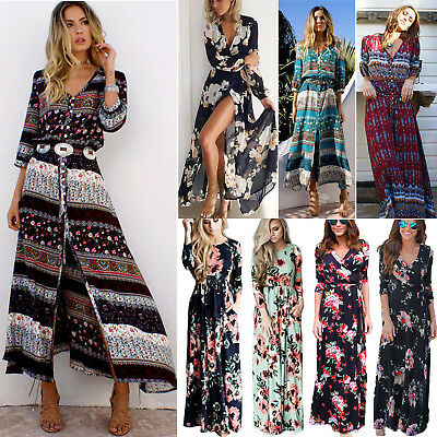 Womens Long Sleeve Maxi Dress Boho Summer Holiday Party Beach Floral Sundress