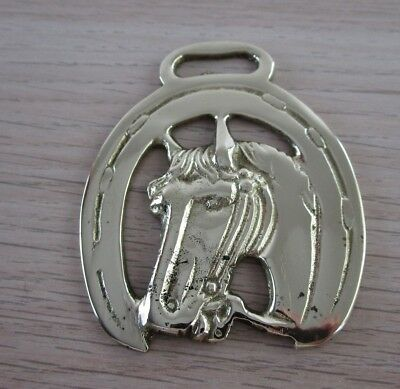Vintage Polished Horse Harness Brass horse's head framed in a lucky horse shoe