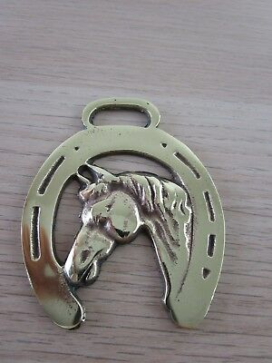 Vintage Polished Horse Harness Brass horse's head framed in a lucky horse shoe 2