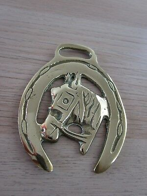 Vintage Horse Harness Martingale Brass horse's head framed in lucky horse shoe 3