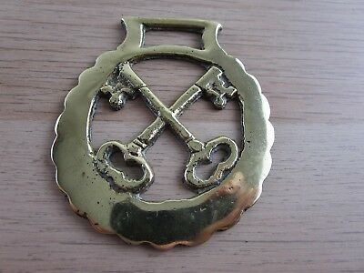 Vintage / antique Solid Horse brass ornament St Peter`s crossed keys Pope Church