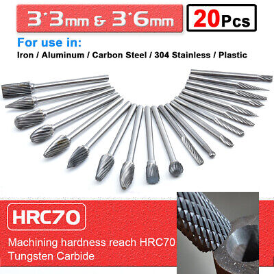 20Pcs Tungsten Carbide Burr Rotary Drill Bits Grinding Burr Files Sets Tools