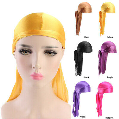 Fashion Men Women Turban Hat Doo Durag Headwear Headband Soft Silk Pirate Cap
