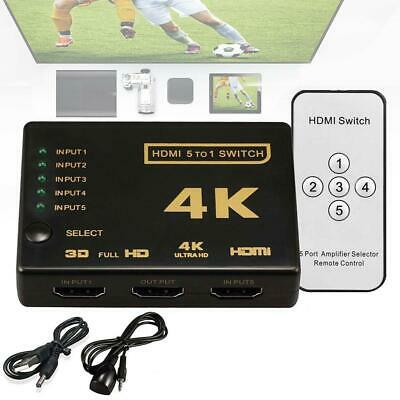 5 To 1 HDMI Splitter Selector Switch Full HD 1080p 3D 2K 4K IR Remote Hub Pretty