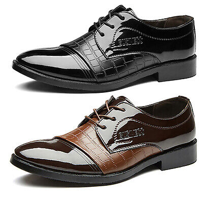 Men Oxfords Lace Up Formal Tuxedo Dress Brogues Business Pointed Toe Flat Shoes