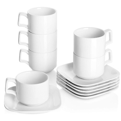 DOWAN Porcelain Coffee Cups with Square Saucers, 9 Ounces for Specialty Coffee