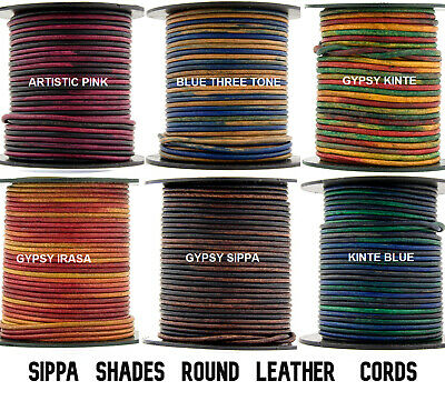 Xsotica® Round Leather Cord-Sippa Shades-1,1.5,2.0 MM-10Feet,10,25,50,100 Meters