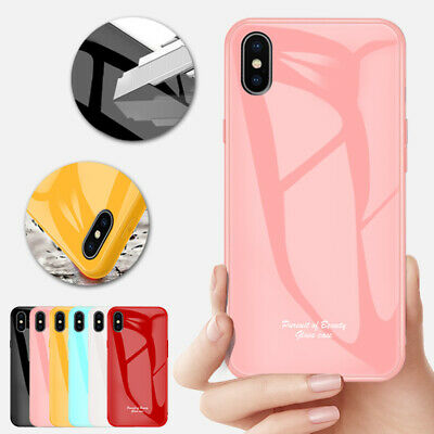 For iPhone 8 Plus 7 XS Max XR 6s Case Tempered Glass Hybrid TPU Shockproof Cover