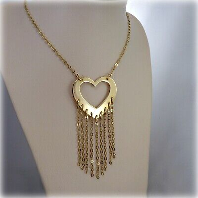 "9 carat Gold Heart & Tassels Pendant on 18"" Gold Trace Chain"