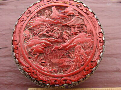 Rare Antique Cinnabar Chinese Carved Red Lacquer Compact Box With Mirror