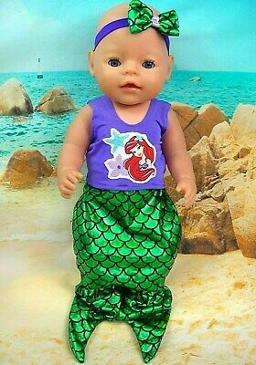 """Dolls clothes for 17"""" Baby Born~CPK Doll~ARIEL~ LITTLE MERMAID TAIL SET~HAIR BOW"""