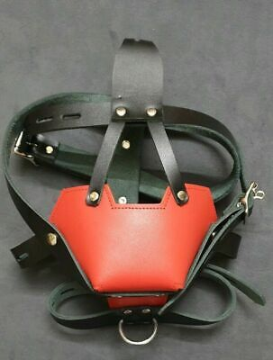 Real Leather Padded Muzzle Head Harness Gay Bondage Interest Bdsm Color Options