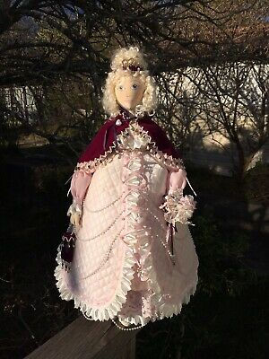 Beautiful Hand Made Cloth Doll Princess Pink Dress Beads Detail 52cm