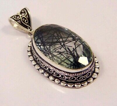 Black Needle Rutlie .925 Silver Plated Hand Carving Pendant Jewelry JC6630