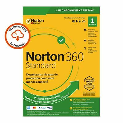 Norton 360 Standard 2020 1 App 1 PC 1 an PC 2019 PC MAC Internet Security FR EU