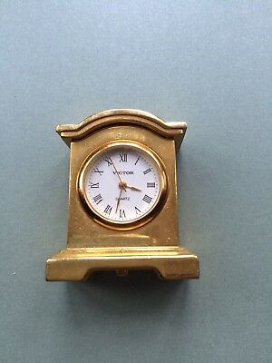 """Vintage """"Victor"""" Novelty Miniature Carriage Clock in Gold-Tones"""