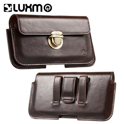 Leather Extra Large Mens Cell Phone Belt Clip Card Purse Holster Case Pouch Bag