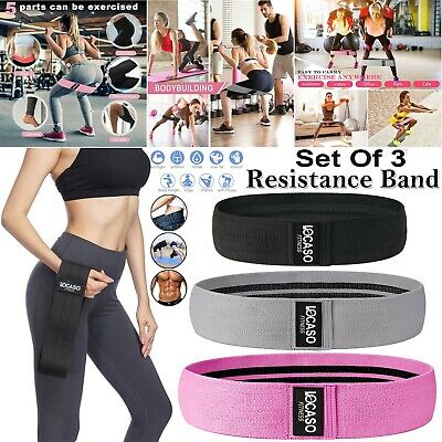 Set Of 3 Booty Bands Resistance Band Heavy Duty Fabric Yoga Fitness Equipment UK