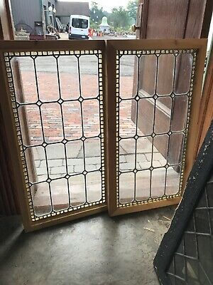 SG3015 2 Av Price each antique Chunck Jewel Window 17.5 x 32.5