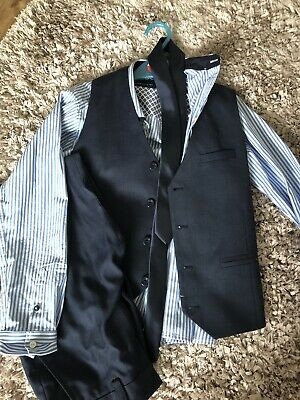 Next Boys Navy Suit Waist Coat Shirt And Tie . Age 9-10 Years