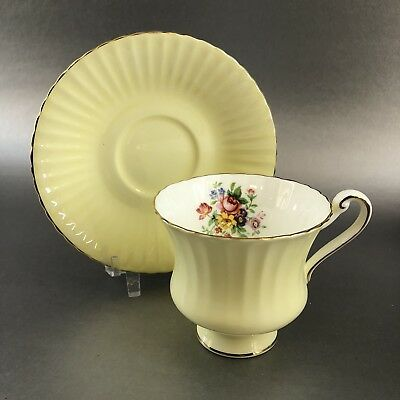 Paragon 1960 Yellow Floral Gold Bone China Teacup Saucer England Vintage Teacup