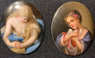 Nice Pair Of Small Antique Hand Painted Porcelain Plaques