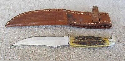 1940-1965 Case XX Stag Handle Fixed Blade Sheath Hunting Knife 9 Inch NICE