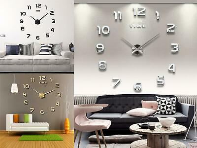 Acrylic 3D Wall Mounted Clock Extra Large Numeral Clock Luxury Mirrors Surface