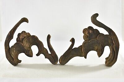 Pair Antique Chinese Wood Carving / Carved Statue of Animal Bat, 19th c