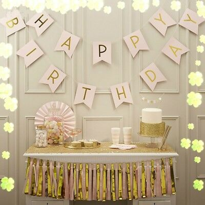 Gold Letter Happy Birthday Bunting Banner Paper Flag Xmas Party Hanging Decor