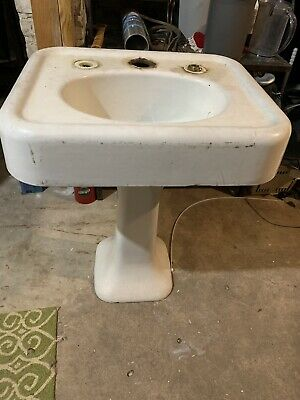 Antique Cast Iron White Porcelain Pedestal Sink Old Vintage Lavatory Sink