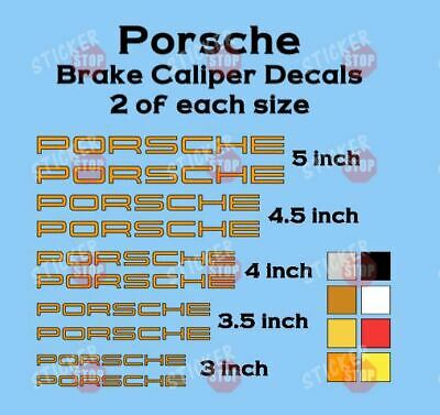 10 ORANGE PORSCHE Brake Caliper Vinyl Decals Heat Resistant 911 Carrera Cayman