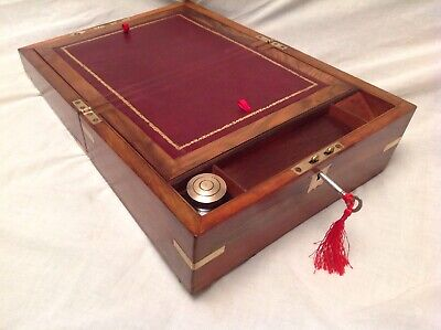 Lovely Victorian Walnut Brass Bound Writing Slope With Working Lock/Key/Inkwell