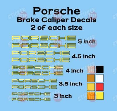 10 YELLOW PORSCHE Brake Caliper Vinyl Decals Heat Resistant 911 Carrera Cayman