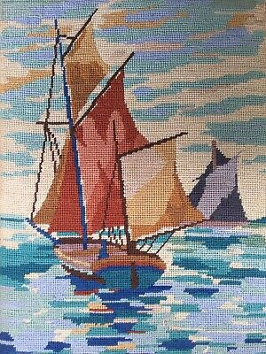 Vtg Completed Penelope Needlepoint Tapestry Sailing Yacht Sea Mounted On Board