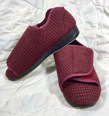 Silverts 10 Extra Wide Red Adjustable Diabetic Medical Non Slip Slipper Shoes
