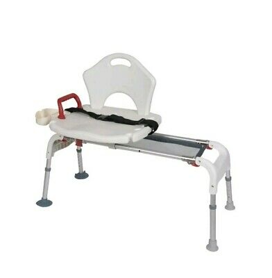 Drive Medical Folding Universal Sliding Transfer Bench, White. Model RTL12075
