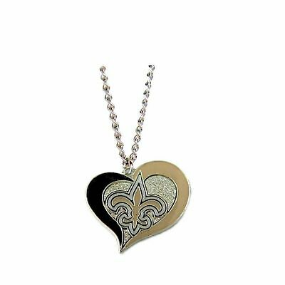 New Orleans Saints Swirl Heart NFL Silver Team Pendant Necklace Aminco 20-Inch