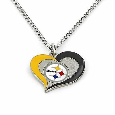 Pittsburgh Steelers Swirl Heart NFL Silver Team Pendant Necklace Aminco 20-Inch