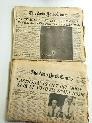 New York Times Newspapers July 20 & 22, 1969 , Apollo 11 Moon Landing