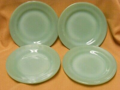 "4 Vintage Fireking Fire King Green Jade Jadeite 5.5"" Smooth Bread Dessert Plates"