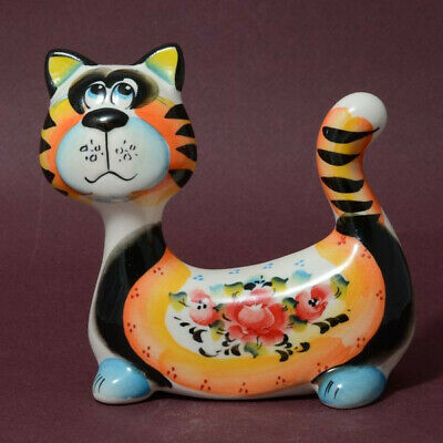 Funny Cat Figurine. Hand Painted Cat Sculpture Majolica