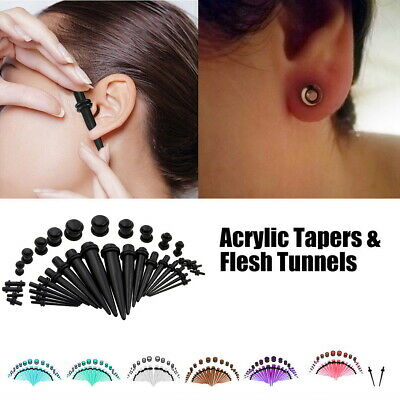 36/72 Pieces Ear Plug Set Ear Tapers Kit Stretching Expander Stretchers 14G-00G