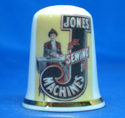 Birchcroft China Thimble --  Jones Sewing Machine Poster -- Free Gift Box