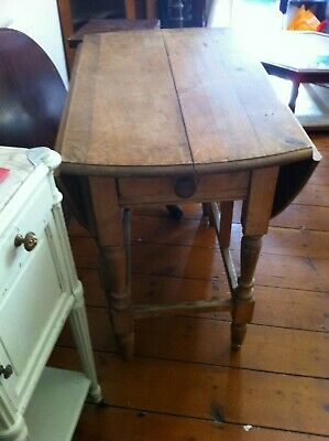 Antique Pine Drop-Leaf Kitchen Table with Drawer