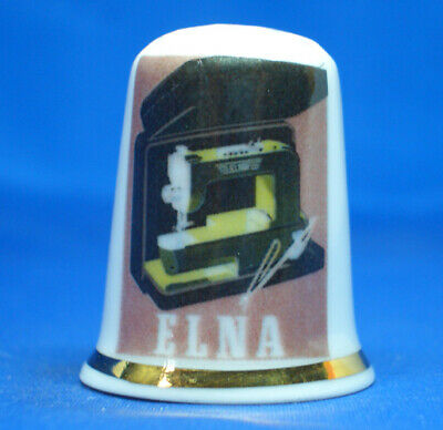 Birchcroft China Thimble --  Elna Sewing Machine Poster -- Free Gift Box
