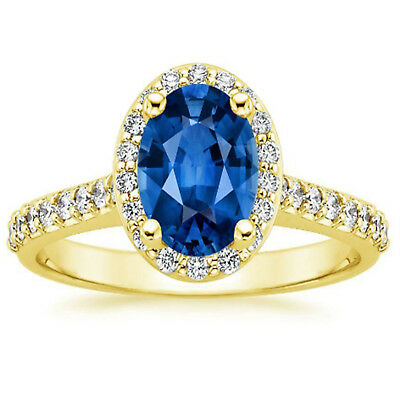 1.95 Ct Oval Natural Blue Sapphire Diamond Engagement Ring 14K Solid Yellow Gold