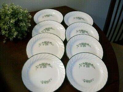8 Corelle Callaway Green Ivy Swirl Salad Bread Dessert Plates Dishes 7 1/4""