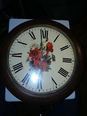 Antique English Mahogany Fusee Wall/School Clock. Unrestored