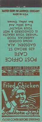 Vintage Matchbook Cover - Black Americana - Post Office Cafe -Fried Chicken Ala.